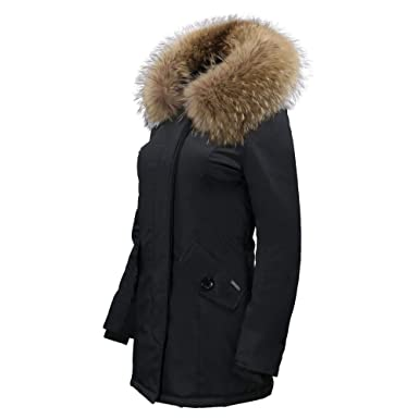 low priced 23bea 4927e Millania Damen-Winterjacke I Damen-Parka mit Fell I Damen-Mantel mit  Fellkragen I Lion Queen I Schwarz