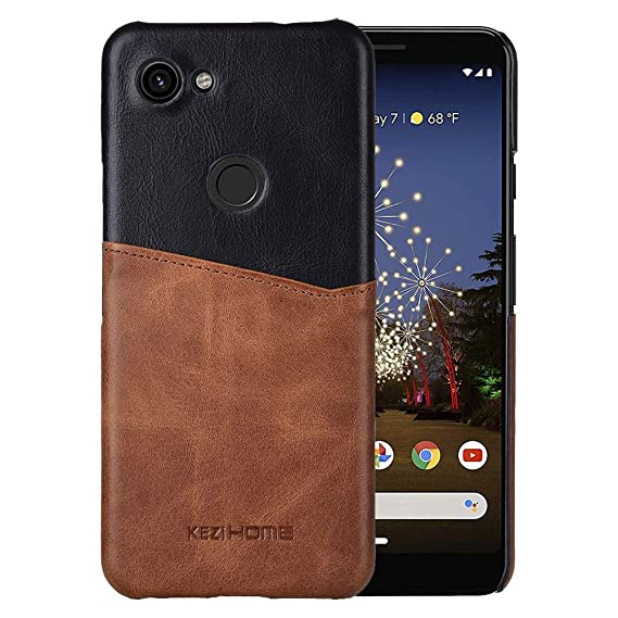 ee371508797d KEZiHOME Pixel 3a Case, Genuine Leather Card Holder Slot Wallet Case Cover  for Google Pixel 3a (2019) (Black)