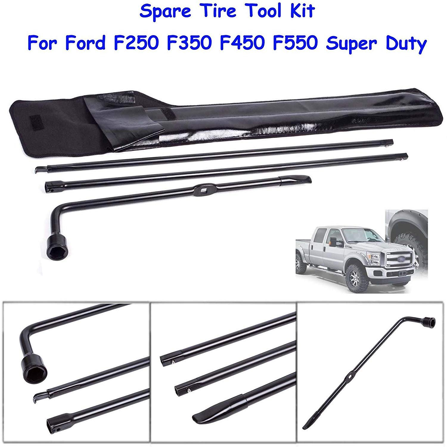 Spare Tire Tool Lug Wrench For Ford F250 F350 F450 F550 2004 F 250 Super Duty Plastic Kit Iron Replacement With Carry Bag 1 Year Warranty Automotive