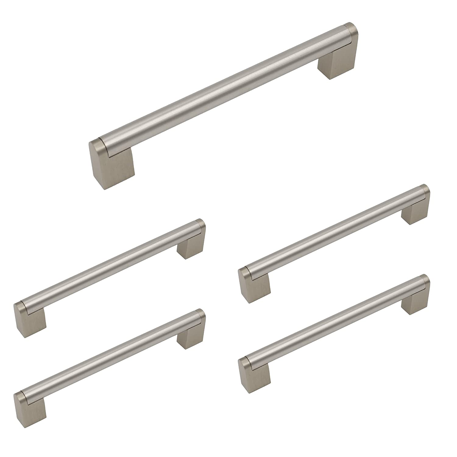 Homidy Kitchen Cabinet Pulls 160mm Hole Distance Brushed Nickel Cabinet Door Handles and Cabinet Knobs 5 Pack