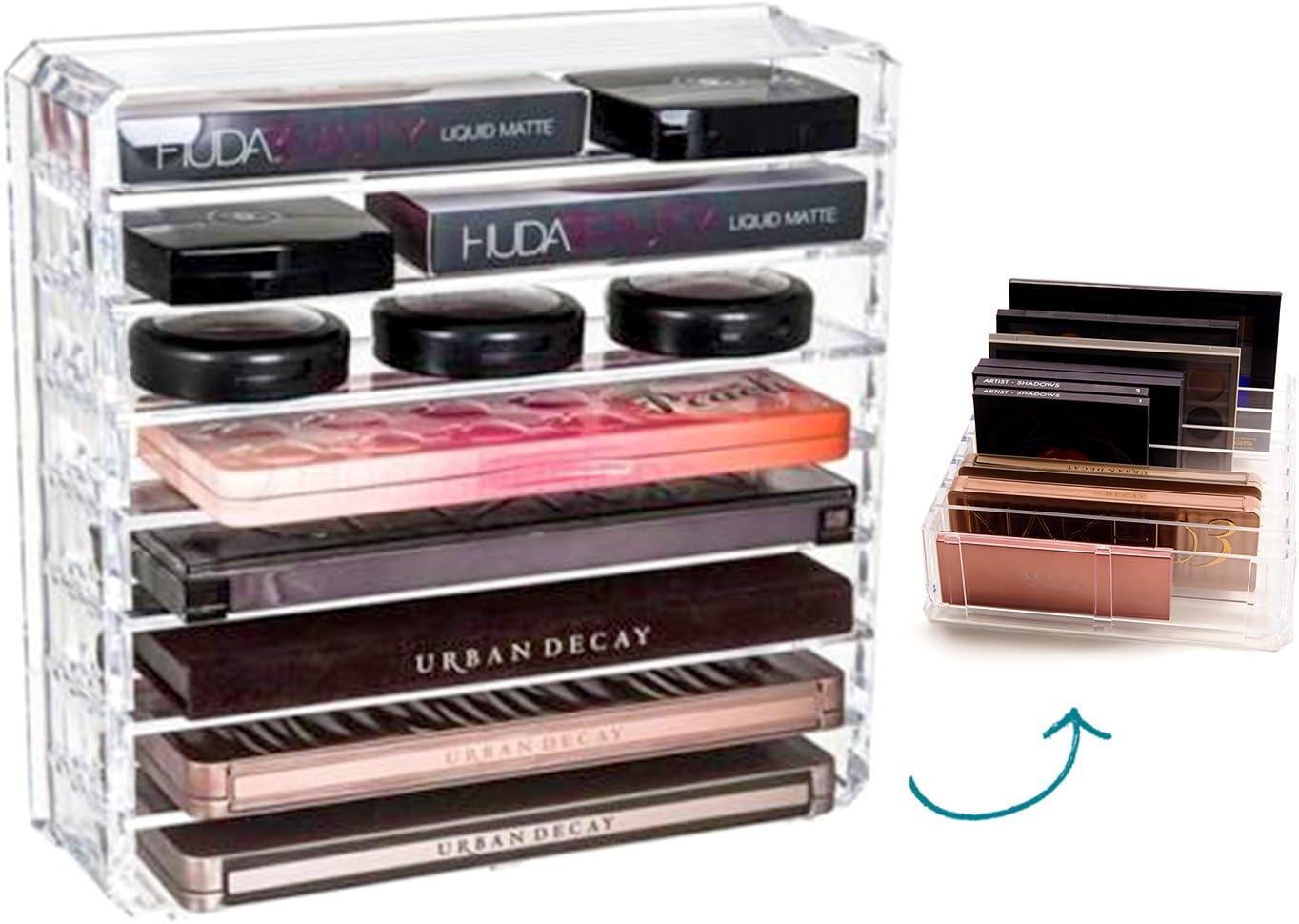 FAJ Palette Acrylic Makeup Organizer, Vanity Holder for Eyeshadow, Blush, Bronzer (8 Tier)