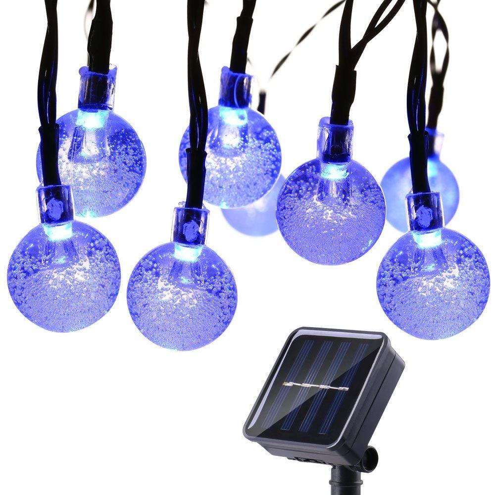 Qedertek Solar Lichterkette Außen mit 30 LED Kugel Warmweiß 6m 8 Modi Dekoration Weihnachts Licht für Garten, Terrasse, Hof, Haus, Party