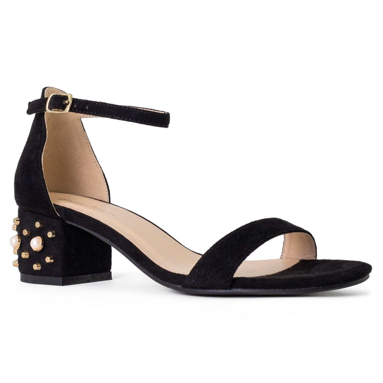 RF ROOM OF FASHION Bebe-02 Open Toe Ankle Strap Sandal - Trendy Kitten Heel Shoe - Low Block Formal Heel - Cute Low Sandal - Faux Leather Vegan Black/Pearl SU (5.5)
