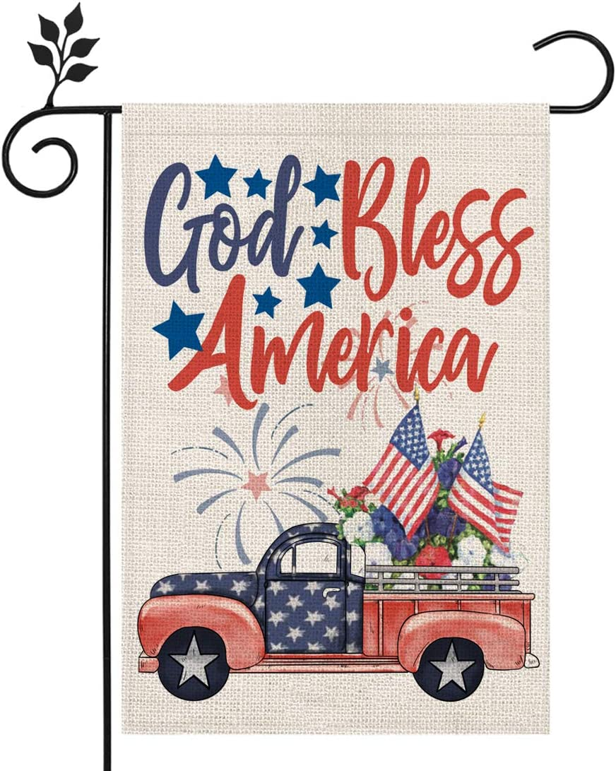 CROWNED BEAUTY Memorial Day God Bless America Garden Flag 12×18 Inch Double Sided 4th of July Independence Day Patriotic American Veteran Soldier Yard Outdoor Decor CF129-12