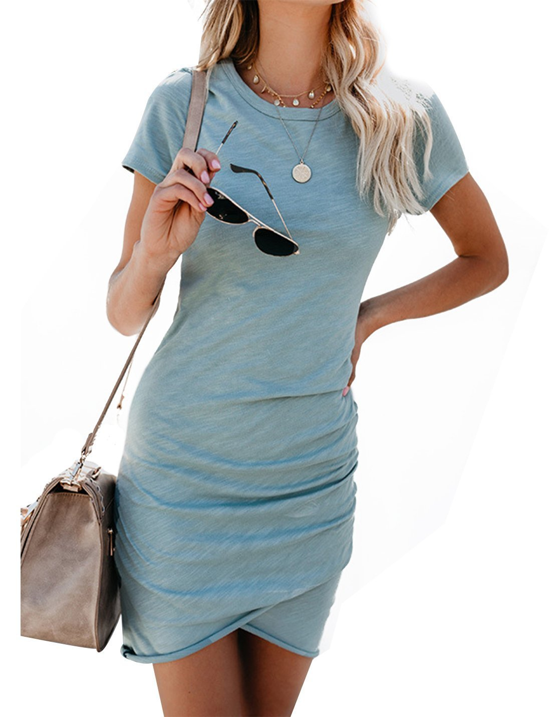 CAIYING Womens Summer Casual Solid Ruched Short Sleeve T-Shirt Midi Dress (Light Blue, S)