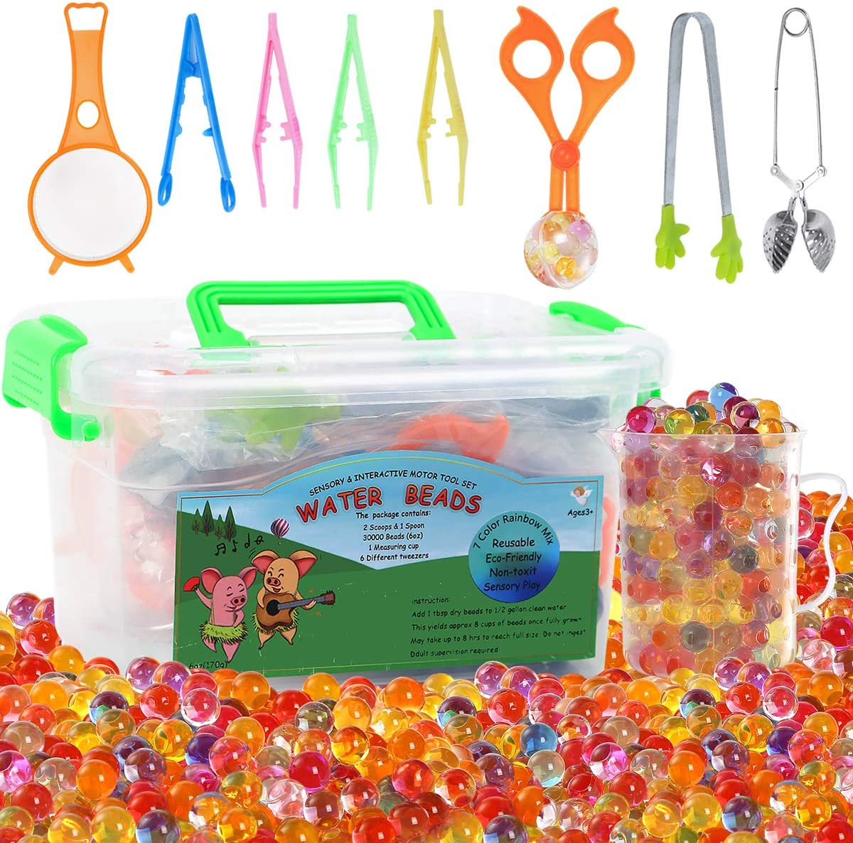 MAGICLUB Water Beads with Fine Motor Skills Toy Set Non-Toxic Water Sensory Toy for Kids-30,000 Beads Sensory Bin Kit with 1 Scoop 1 Spoon and 6 Tweezers Jelly Beads for Early Skill Development