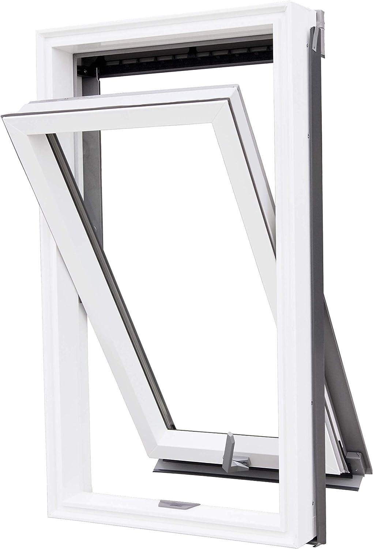 Abverkauf Aktion Abverkauf Aktion VKR Konzern Rooflite Velux Dauerl/üftung hochwertiges Kunststoff PVC Dachfenster Schwingfenster mit Eindeckrahmen 55x98 cm C4 C04 CK04 inkl
