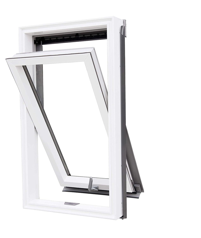 VKR Konzern Rooflite Velux Kunststoff PVC Dachfenster Schwingfenster mit Eindeckrahmen und einstellbarer Dauerl/üftung 55x98 cm C4 CK04