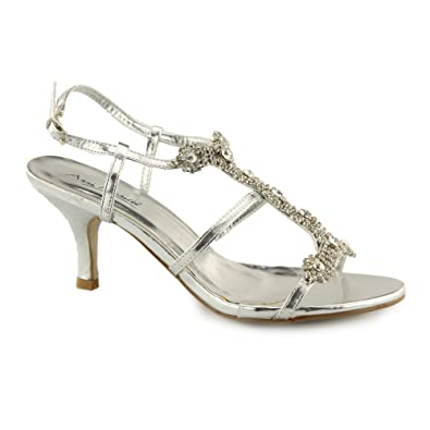 fa6c957862d3 Anne Michelle Timeless L3340RM Ladies Buckle Jewelled Heels Silver UK 4