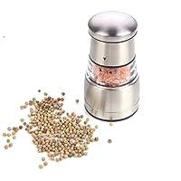 Pepper and Salt Grinder, GWCLEO Manual Salt or Pepper Mill, Elegantly Designed with Adjustable Fineness Setting, Good Grips Pepper Grinder Stainless Steel Housing and Large Capacity Spice Jars