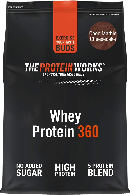 Whey Protein 360 |Combinación TRI-Proteica, Batido Alto En Proteínas Para Construir Músculo| THE PROTEIN WORKS, Tarta de Queso y Chocolate, 600g