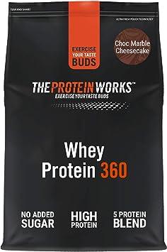 Whey Protein 360  Combinación TRI-Proteica, Batido Alto En Proteínas Para Construir Músculo  THE PROTEIN WORKS, Tarta de Queso y Chocolate, 600g