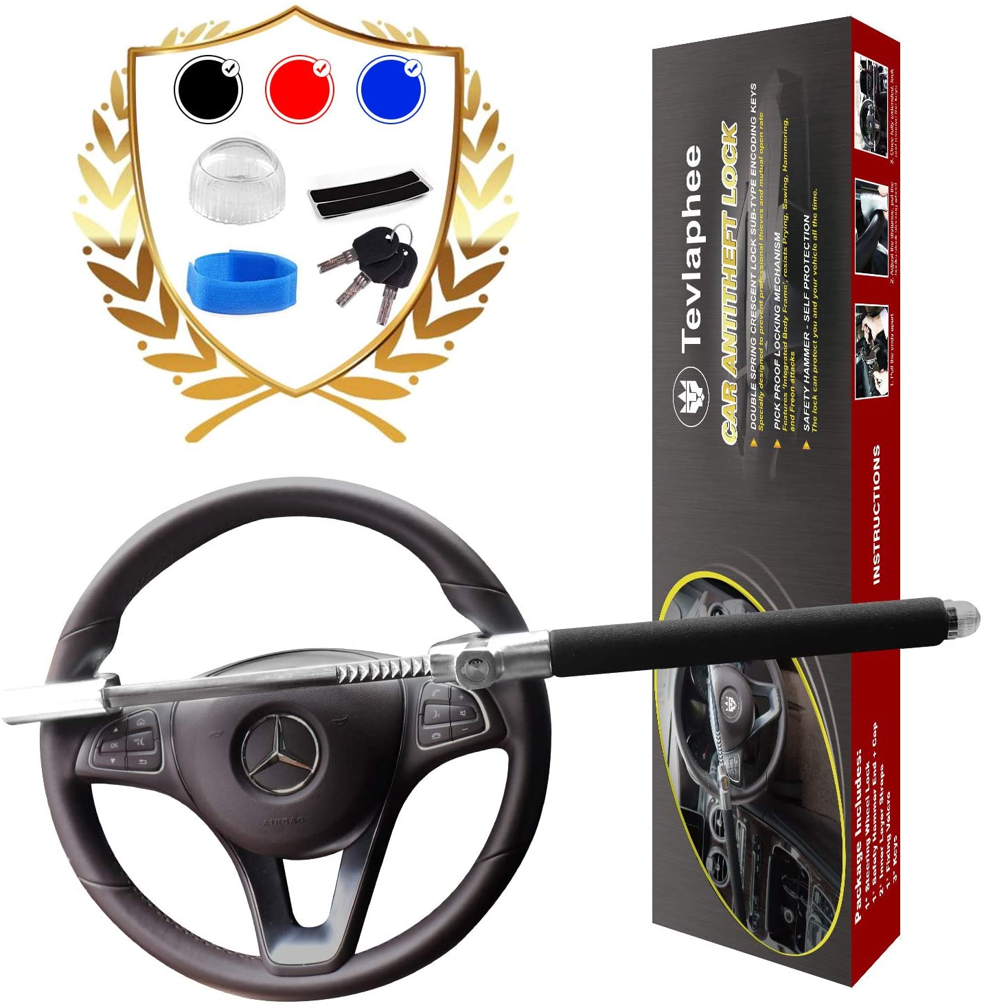 Tevlaphee Steering Wheel Lock For Cars