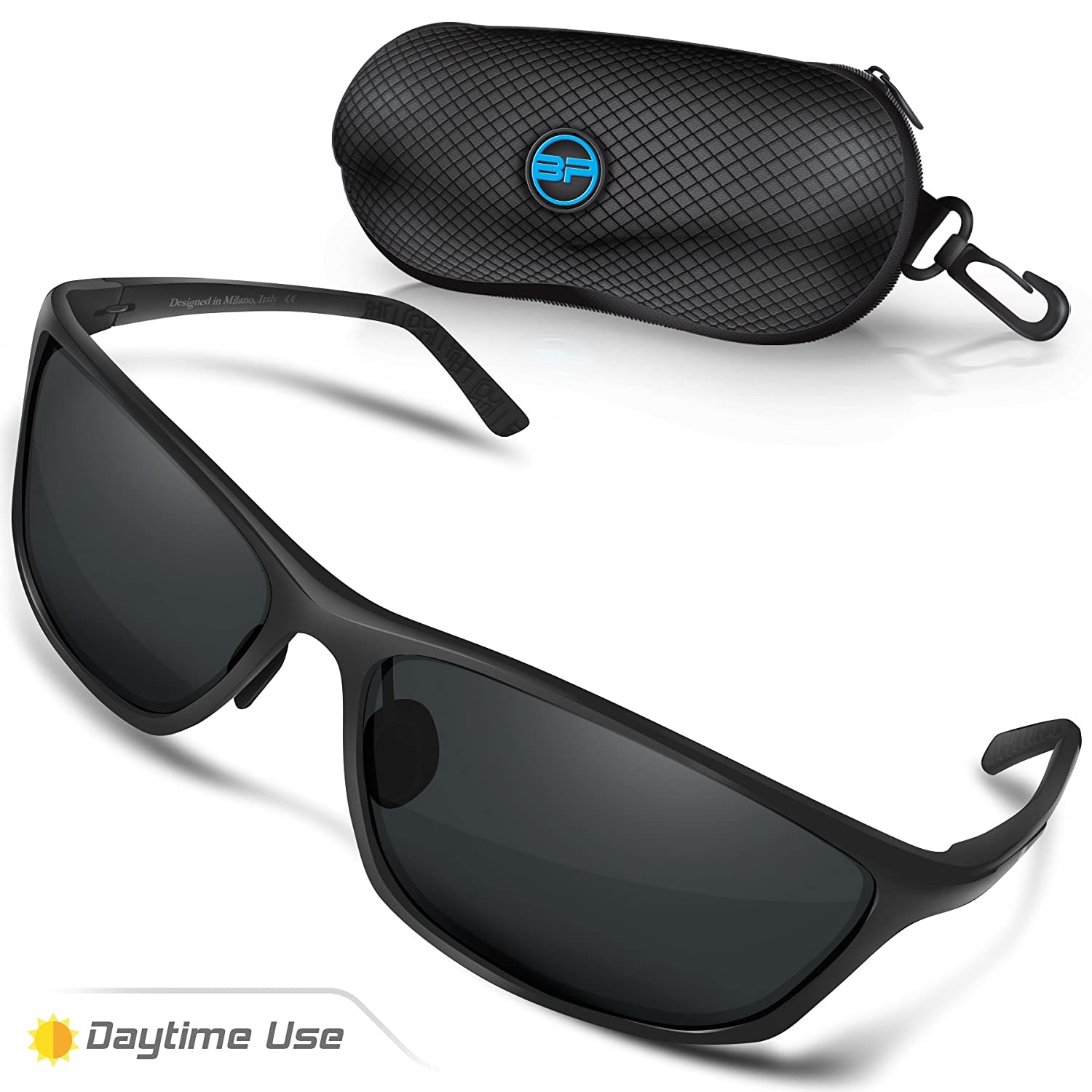 13a07c4c0ec Amazon.com  BLUPOND Polarized Driving Sunglasses for Men Women - TAC HD Vision  Anti Glare Lens - Unbreakable Metal Frame - Rally  Sports   Outdoors