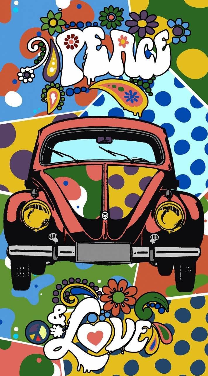 100 x 180 cm Hippie Peace /& Love Asditex Toalla Playa Microfibra Estampada Coche Escarabajo