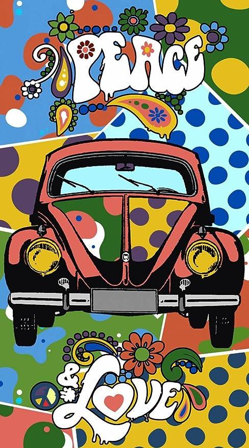 Asditex Toalla Playa Microfibra Estampada - 100 x 180 cm - Coche Escarabajo - Hippie Peace