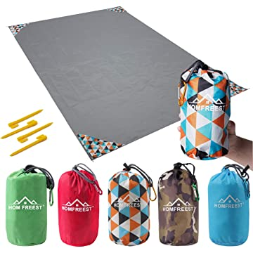 HOMFREEST Beach Blanket Sand Proof 55″X80″, Waterproof Beach Mat Compact Pocket Blanket for Outdoor Picnic and Music Festival with Camping Tarp Grommets, Stakes and Windproof Corner Pockets
