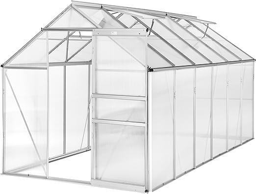 TecTake Invernadero de jardín policarbonato transparente aluminio casero plantas cultivos 375x185x195cm - varios modelos - (375x185x195 cm | no. 402479): Amazon.es: Jardín