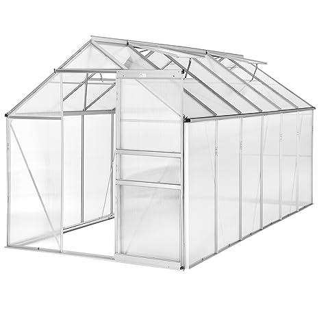 TecTake Invernadero de jardín policarbonato transparente aluminio casero plantas cultivos 375x185x195cm - varios modelos - (