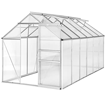 TecTake Invernadero de jardín policarbonato transparente aluminio casero plantas cultivos 375x185x195cm - varios modelos - (375x185x195 cm | no.
