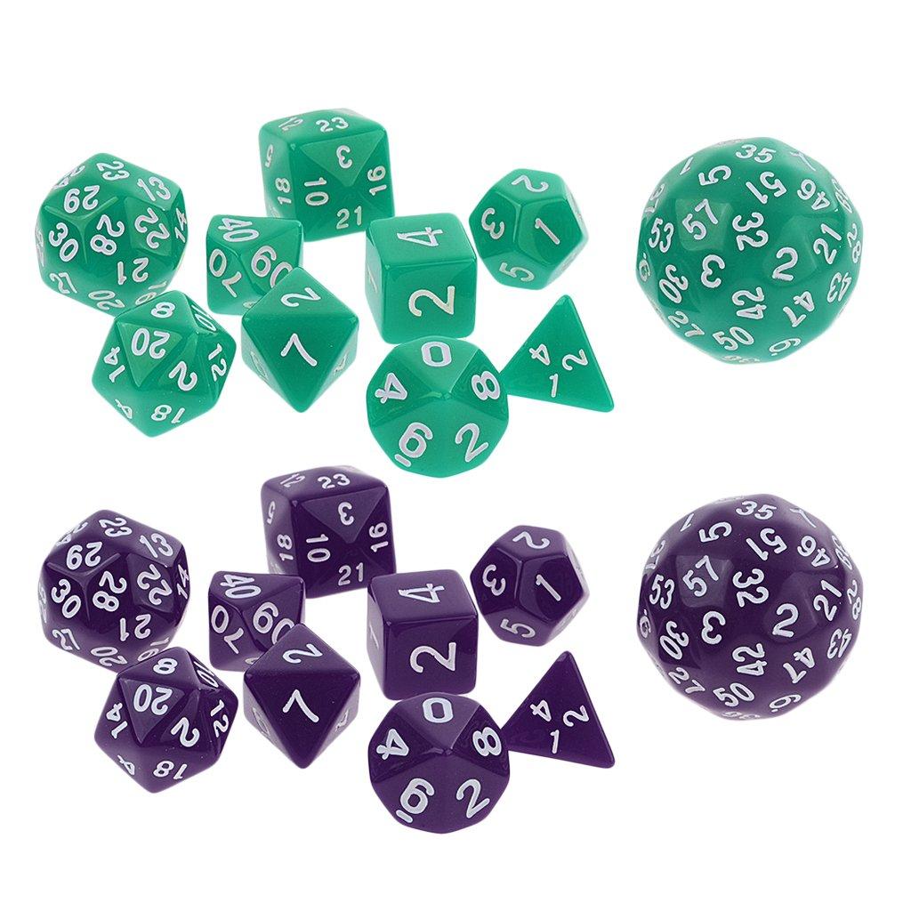 Sharplace 20pcs Jeux de Dés Polyédrique D4-D60 Acrylique Violet Vert pour Donjons Dragons Jeu de Casino