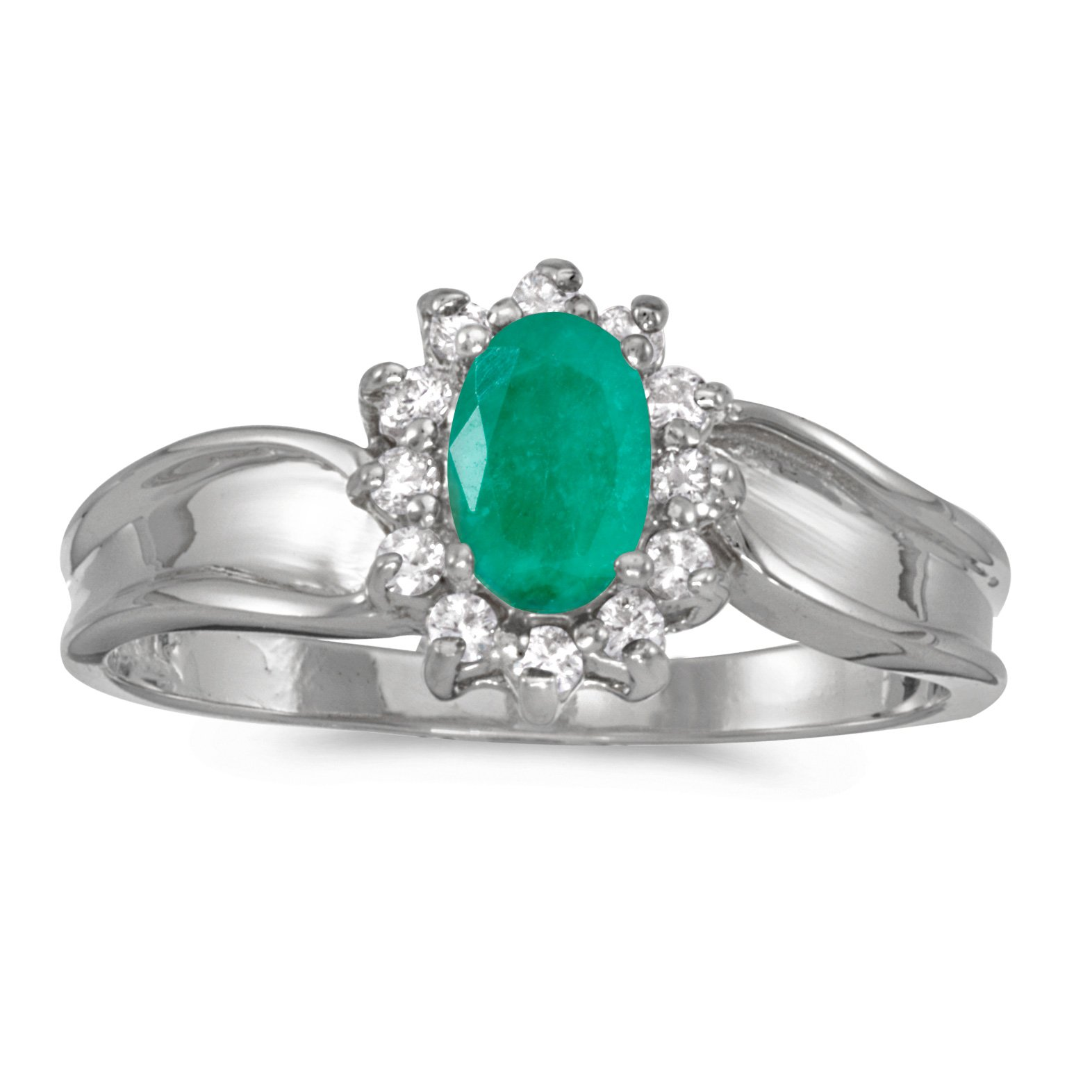 Jewels By Lux 14k White Gold Genuine Green Birthstone Solitaire Oval Emerald And Diamond Wedding Engagement Ring - Size 8 (0.31 Cttw.)