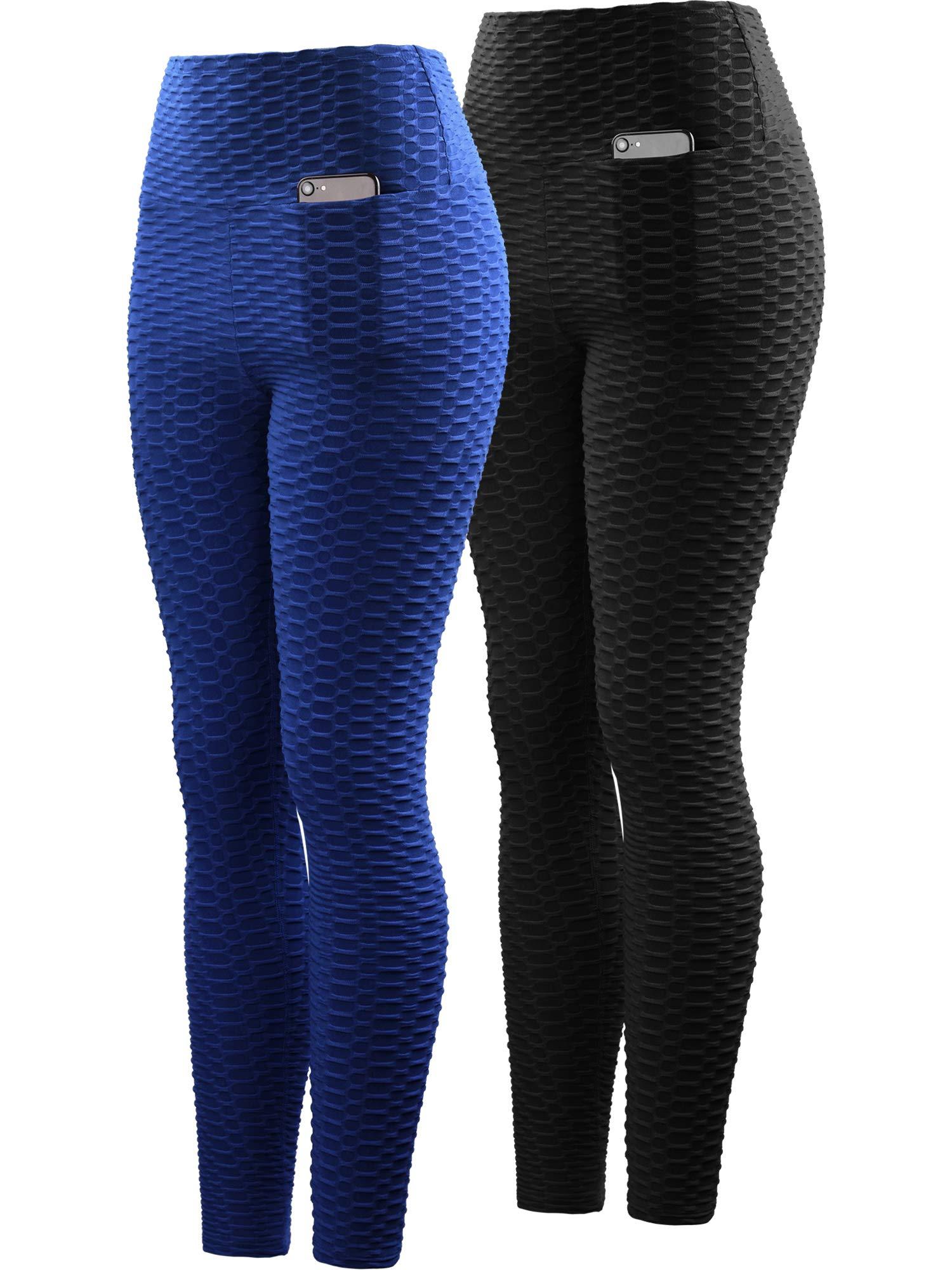 Neleus Women's 2 Pack Tummy Control High Waist Leggings Out Pocket,9036,Black/Blue,S,EU M