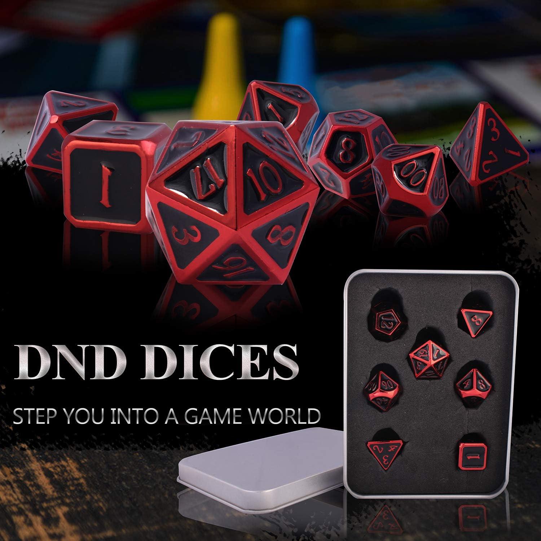 Metall Dnd Würfel Set D D 7 Teilig D20 D12 D10 D8 D6 D4 Für Dungeons Und Dragons Ttrpg Spiele Rpg Dice Gaming D D Mathematik Lehre Dragon Red Black Amazon De Küche