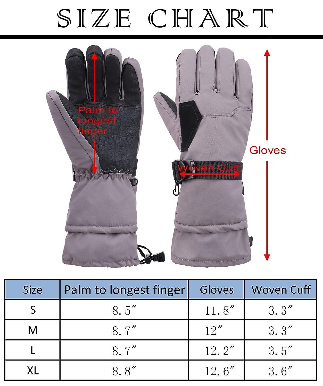 YoungLove Mens Adjustable Thinsulate Insulation Waterproof Ski Snowboard Winter Snow Gloves