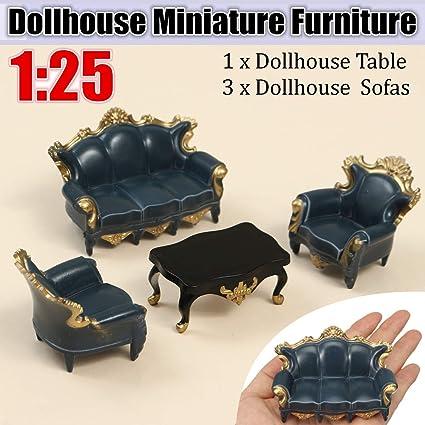 Amazon.com: ZAMTAC 4Pcs 1:25 Scale Home Blue Sofa Table ...