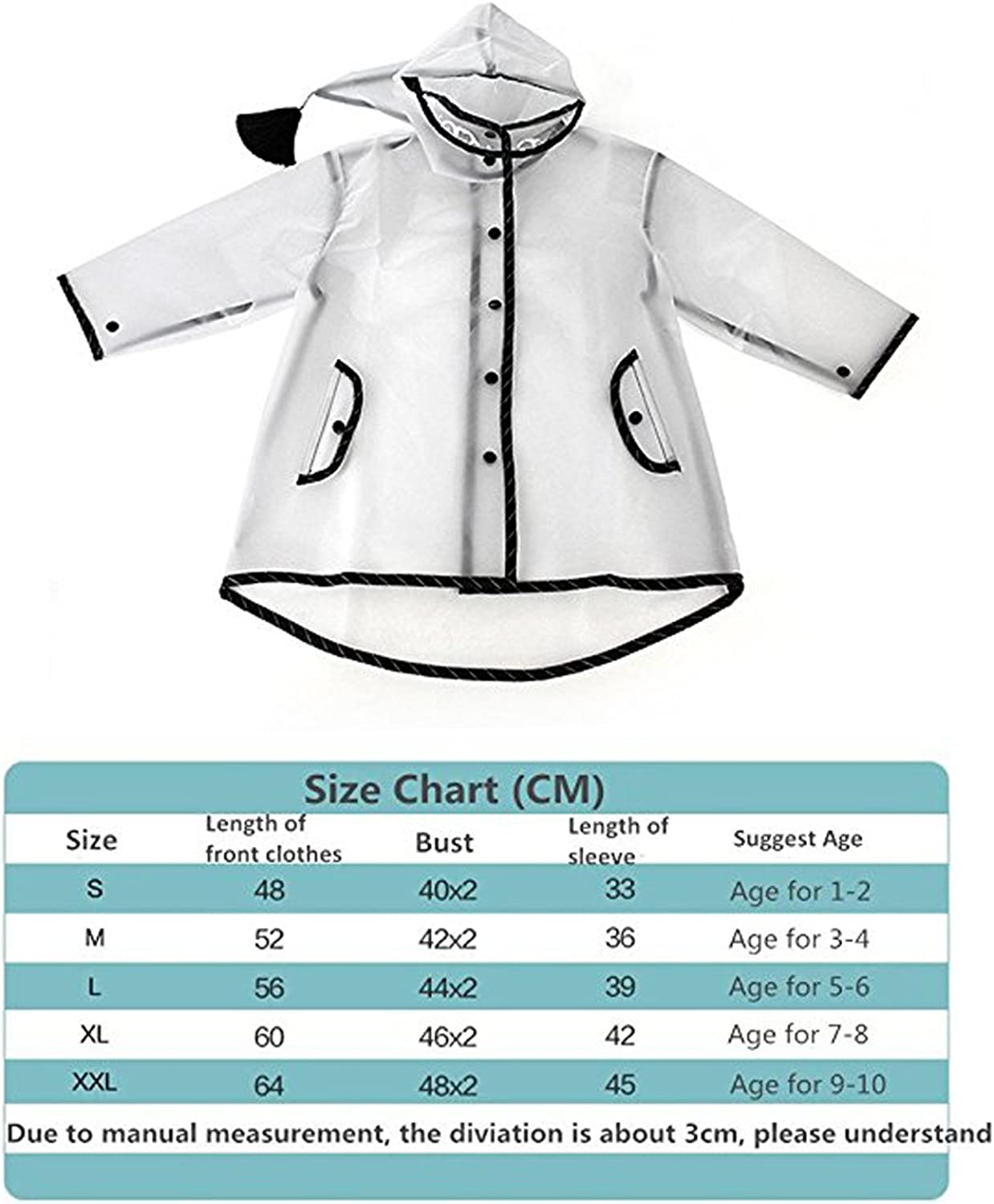 Kids Durable Rain Cape//Raincoat Portable Hooded Poncho for Boys Girls