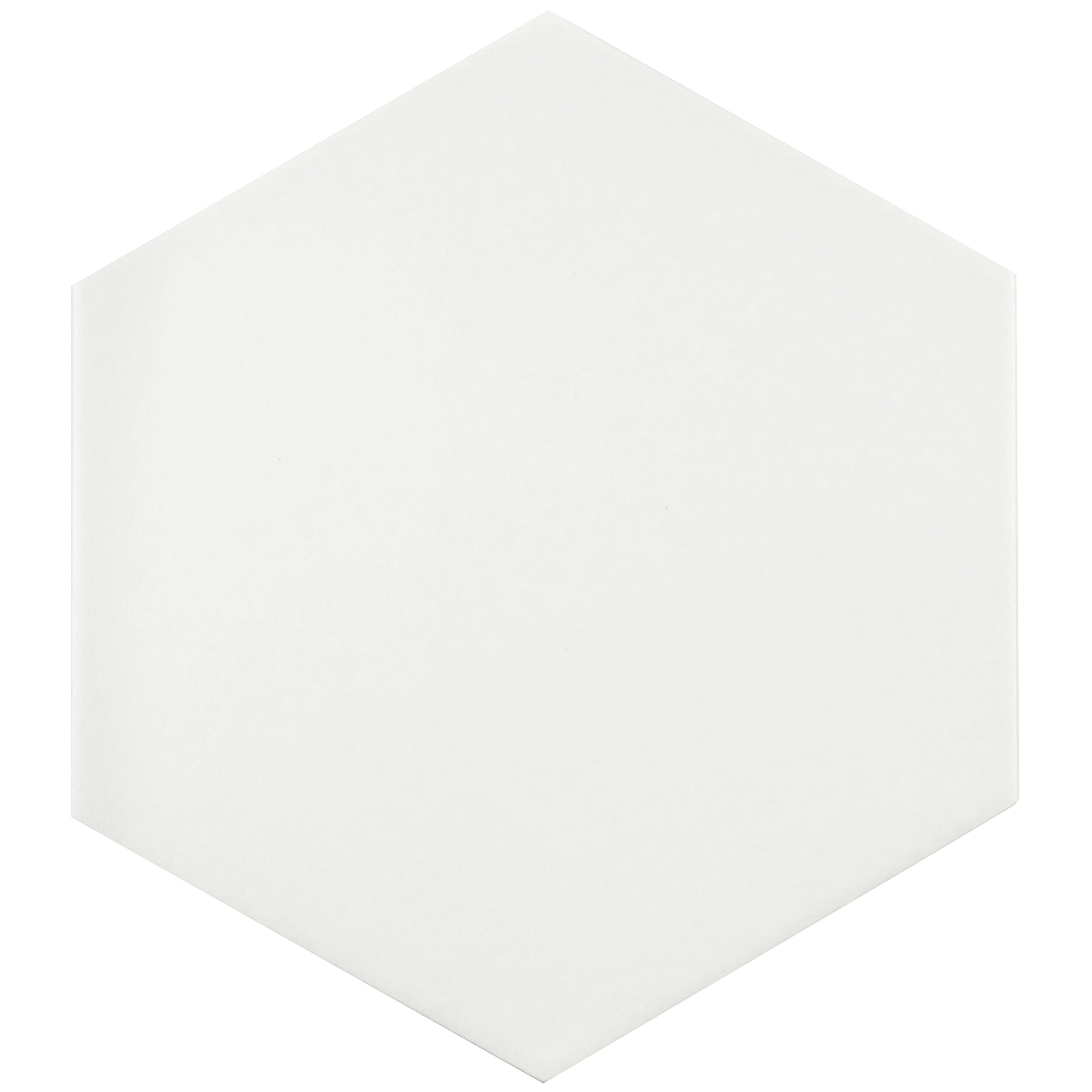 SomerTile FCD10WTX Abrique Hex Porcelain Floor and Wall Tile, 8.625'' x 9.875'', White by SOMERTILE