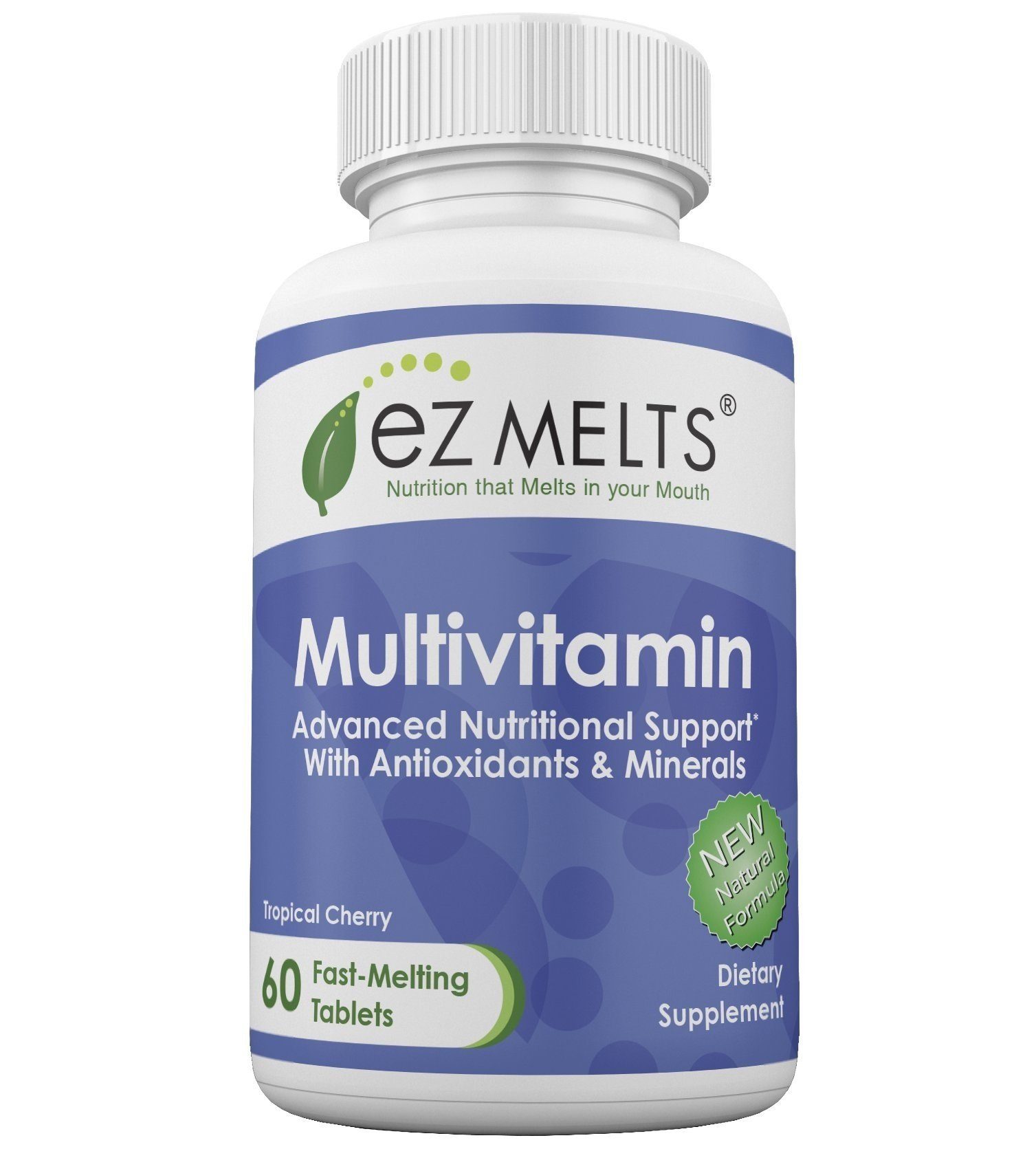 EZ Melts Multivitamin, Dissolvable Vitamins, Vegetarian, Zero Sugar, Natural Cherry Flavor, 60 Fast Melting Tablets, Multivitamin Supplement