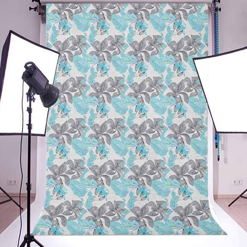 7x10 FT Floral Vinyl Photography Backdrop,Pattern of Petals Line Art Inspired Leaves Nostalgic Illustration Background for Baby Birthday Party Wedding Graduation Home Decoration