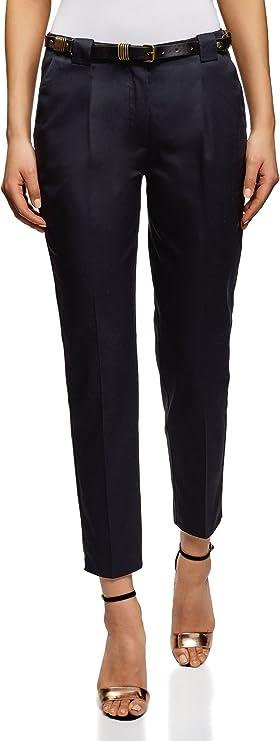 oodji Collection Mujer Pantalones de Algodón con Cinturón, Azul, ES 36 / XS: Amazon.es: Ropa y accesorios