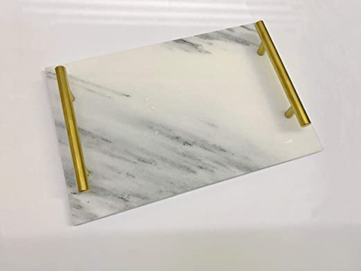Marbling Tray Jewelry Tray with Gold Metal Handle Copper Trinket Tray Bathroom Vanity Table Brilliant Black BESTSELLER2888 Handmade Catchall Decorative Tray for Dresser