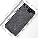 Samsung Galaxy A80 Cloth Texture Pattern with Leather Coated Case cover - Grey.