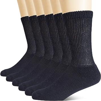 6 Pairs Men Diabetic Crew Socks For Healthy Circulation White Grey or Black