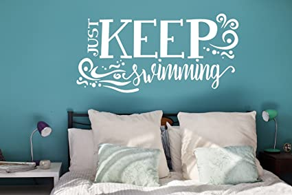 N.SunForest Just Keep Swimming Vinyl Wall Decals Inspirational Quotes White  Ocean Waves Kids Bedroom