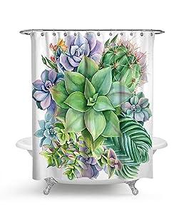 QCWN Cactus Flowers Shower Curtains,Tropical Cactus Flowers Blossom Bath Curtain Durable Waterproof Fabric Bathroom Curtain with Hooks. Multi 59x70Inc