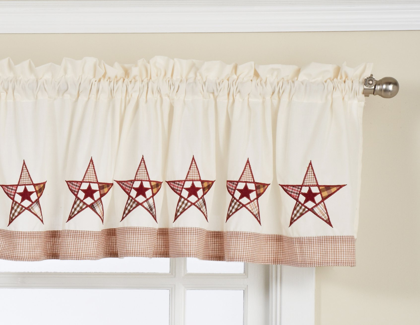 Lorraine Home Fashions Country Stars Tailored Valance, 60 by 12-Inch, Ecru/Red