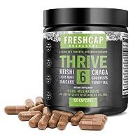 Thrive 6 Mushroom Complex - 120 Capsules - Lion's Mane, Reishi, Cordyceps, Chaga...