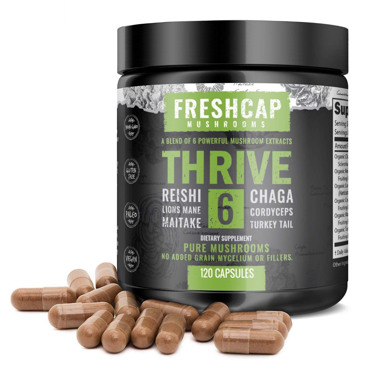 Thrive 6 Powerful Mushroom Extract - 120 Capsules - Lion's Mane, Reishi, Cordyceps, Chaga, Turkey Tail, Maitake - Supplement - Real Fruiting Body - No Fillers