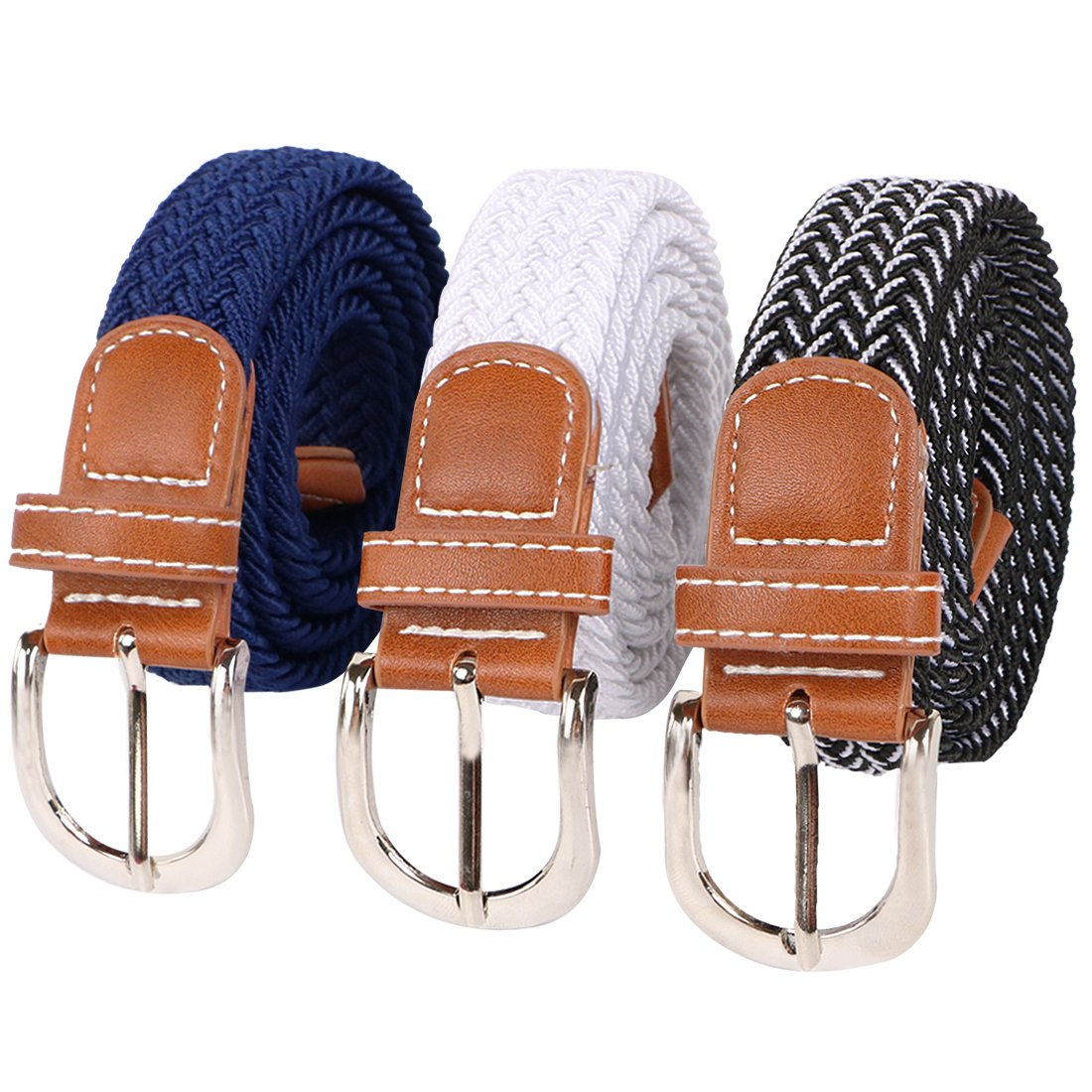 kilofly 3 pcs Kids Boys Girls Stretchy Elastic Web Woven Braided Belts Set