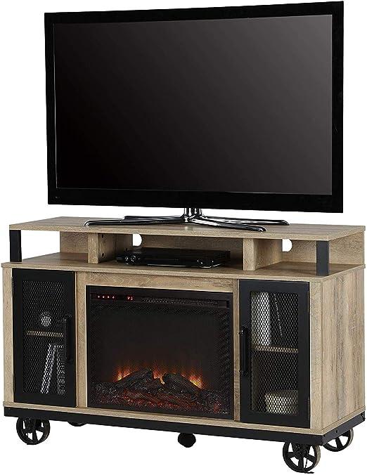 Wood & Style Mueble de Madera y Estilo para TV con Chimenea para ...