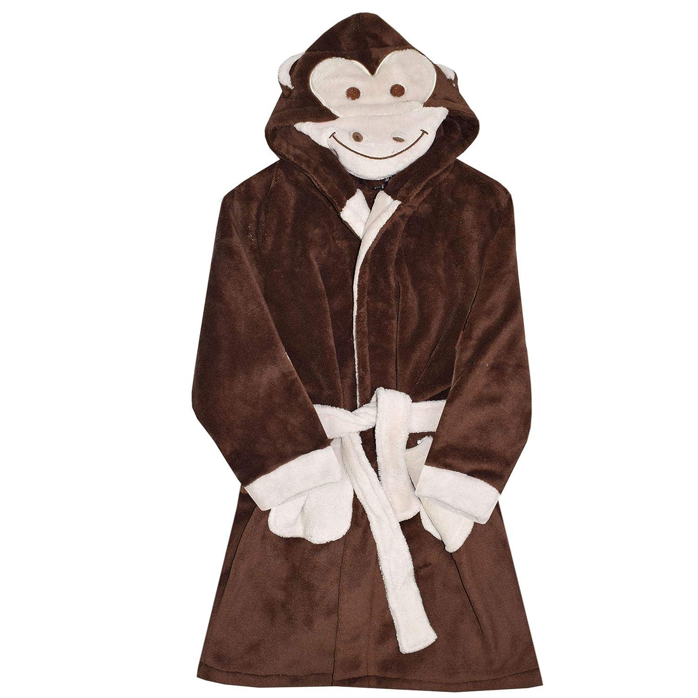A2Z 4 Kids® Kids Girls Boys Bathrobes Designer's 3D Animal Monkey Hooded Soft Short Fleece Dressing Gown Nightwear Loungewear Age 2 3 4 5 6 7 8 9 10 11 12 13 Years