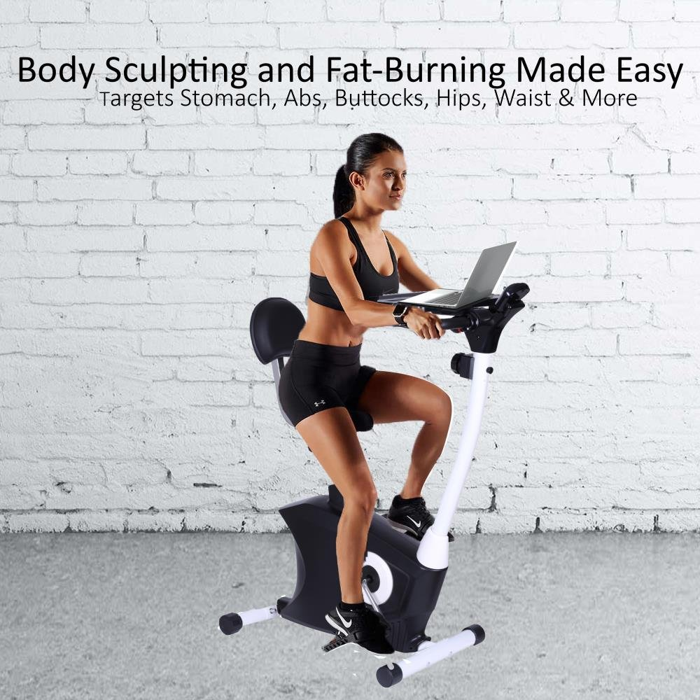 amazoncom serenelife exercise bike upright stationary bicycle pedal cycling trainer fitness machine equipment with laptop tray for workout