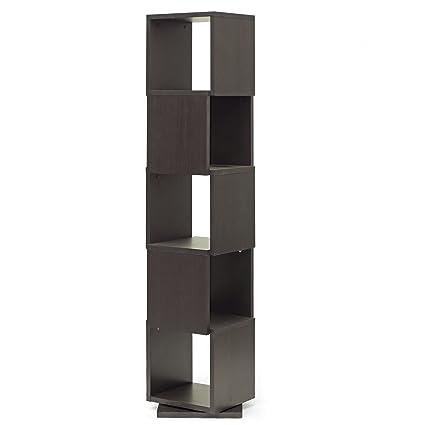 Baxton Studio Ogden 5 Level Rotating Modern Bookshelf Dark Brown