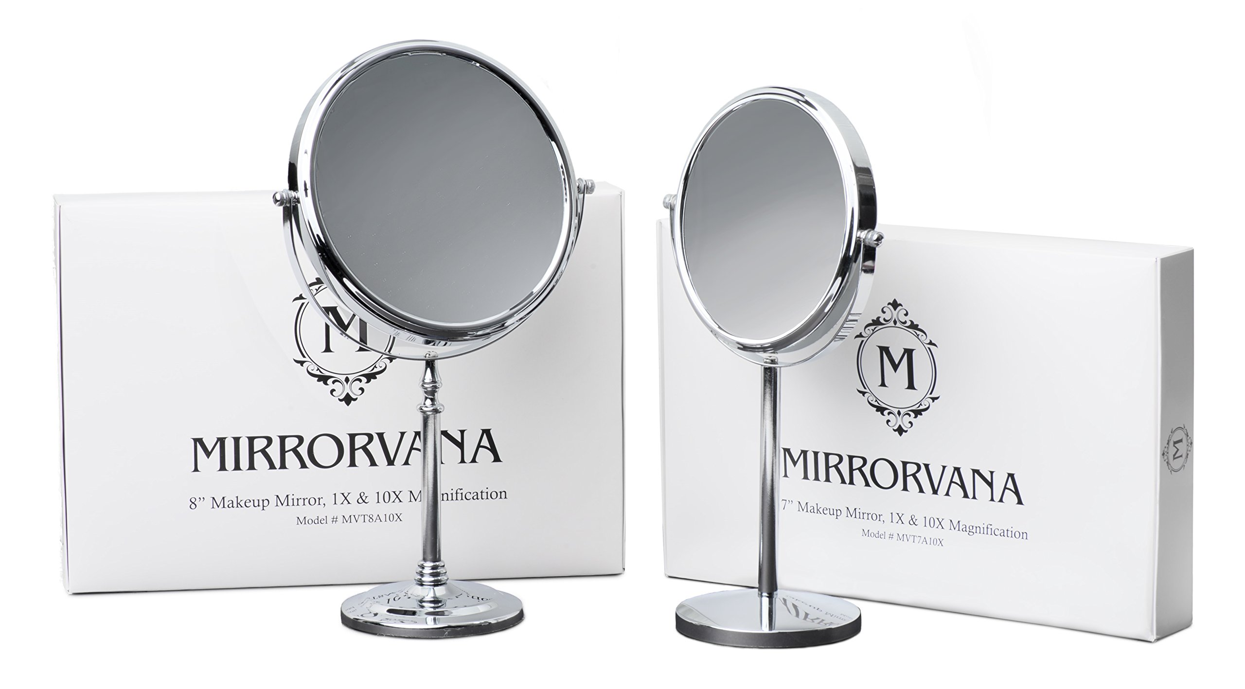 Mirrorvana 8-Inch Vanity Makeup Mirror (10pcs), Dual-Sided 1X and 10X Magnification, Gift Set Packaging