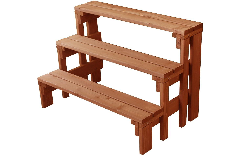 プランター台/花台 棚板セット3段 (フラワースタンド) MB(ミディアムブラウン)色 B01MRJP4D7 3段|MB(ミディアムブラウン) MB(ミディアムブラウン) 3段